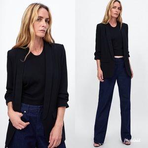 ZARA Black Crepe Roll Sleeve Open Longline Blazer